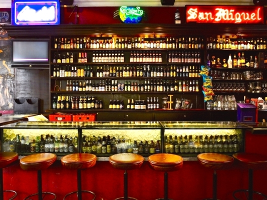 bar with lot of alcohol drink options