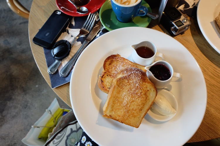 delicious french toast with honey and syrup