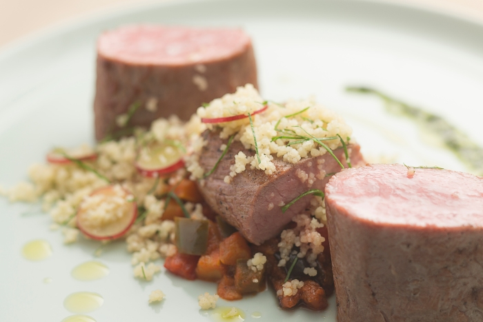 Oven roasted lamb loin, ratatouille, cous-cous, thyme jus
