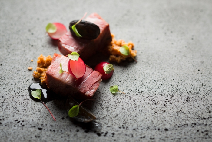 Pork Collar, Radishes and Praline