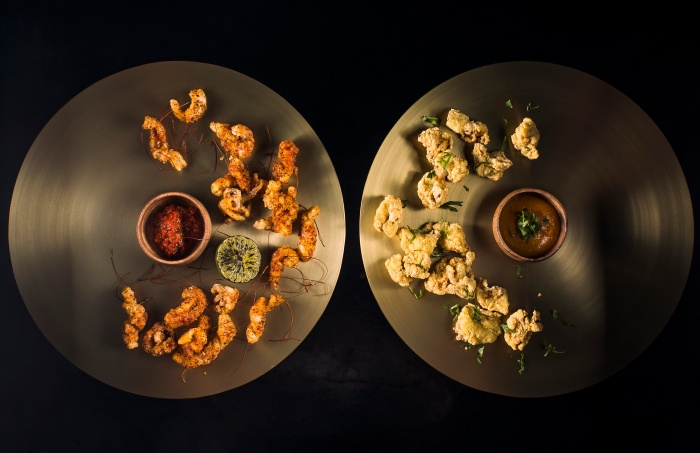 Togarashi Squid, Harissa Dip & Buttermilk Chicken, Coronation Sauce