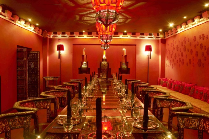 private intimate dining room in red theme