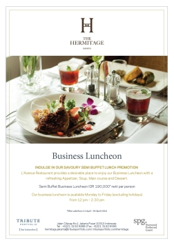 business luncheon menu by the hermitage