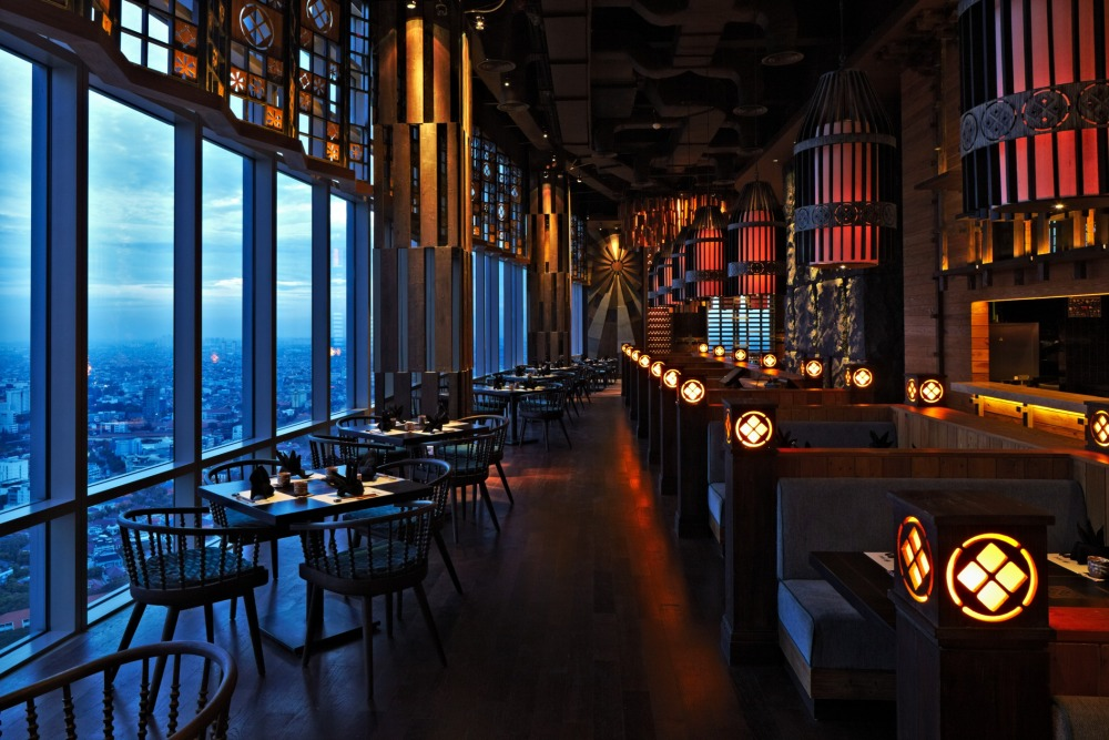 japanese restaurant with panoramic city view