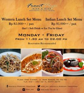 western and indian lunch set menu by front page