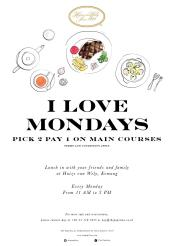 monday deals for main courses by huize van wely kemang