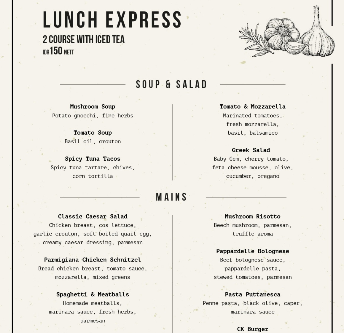 lunch menu by cassis kitchen jakarta