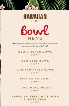 Hawaiian Bistro lunch bowl menu